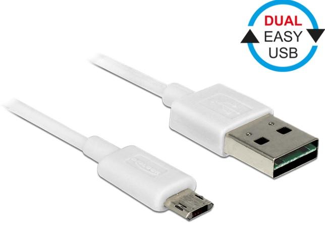 Delock kabel EASY-USB 2.0 Type-A samec > EASY-USB 2.0 Type Micro-B samec bílý 1 m