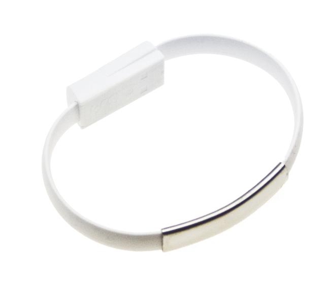 Datový kabel BRACELET microUSB nabíjecí white