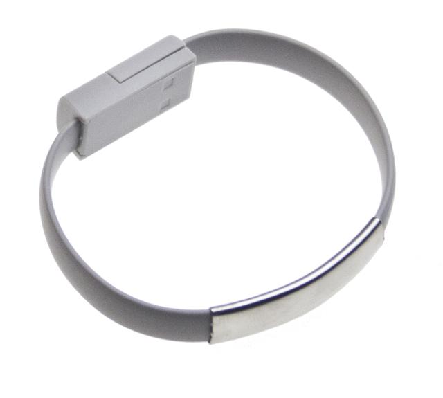 Datový kabel BRACELET microUSB nabíjecí grey