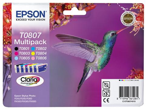 EPSON cartridge T0807 (6color) multipack (kolibřík)