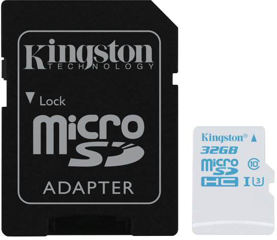 KINGSTON 32GB microSDHC UHS-I U3 Action Card, 90R/45W + SD Adapter