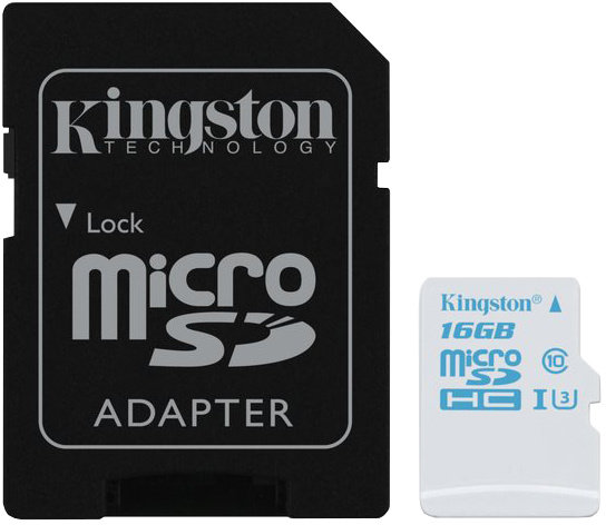 KINGSTON 16GB microSDHC UHS-I U3 Action Card, 90R/45W + SD Adapter