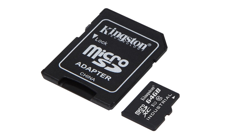 KINGSTON 64GB microSDXC UHS-I Class 10 Industrial Temp Card + SD Adapter