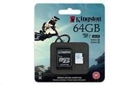 Kingston micro SDHC 64GB UHS-I U3 Action Card, 90R/45W + SD Adaptér