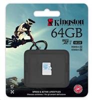 Kingston 64GB Micro SecureDigital (SDHC) Card, UHS-I U3, 90r/45w