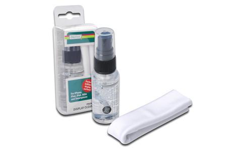 DIGITUS Čistící set pro displeje pro iPad, iPod, iPhone a další, 30 ml + jemný hadřík z mikrovlákna