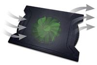 """OMEGA chladič pod notebook CHILLY, pro notebooky 10 - 15,6"""", 16cm ventilátor, 4x USB port, černý"""