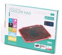 """OMEGA chladič pod notebook ICE BOX, pro notebooky 10 - 17"""", 14cm ventilátor, 2x USB port, červený"""