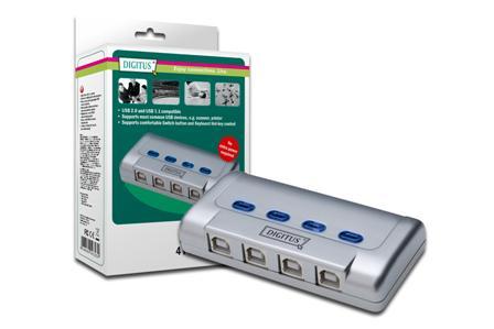 USB 2.0 sdílený přepínač Digitus 4 PC - 1 zařízení USB, 5 LGW