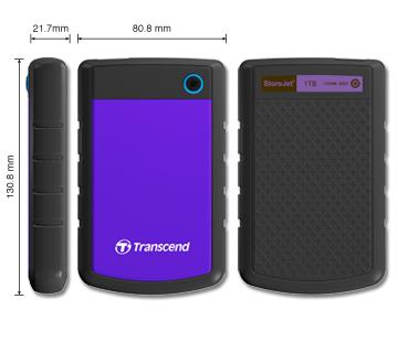 """TRANSCEND 500GB StoreJet 25H3P, USB 3.0, 2.5"""" Externí odolný hard disk, černo/fialový"""