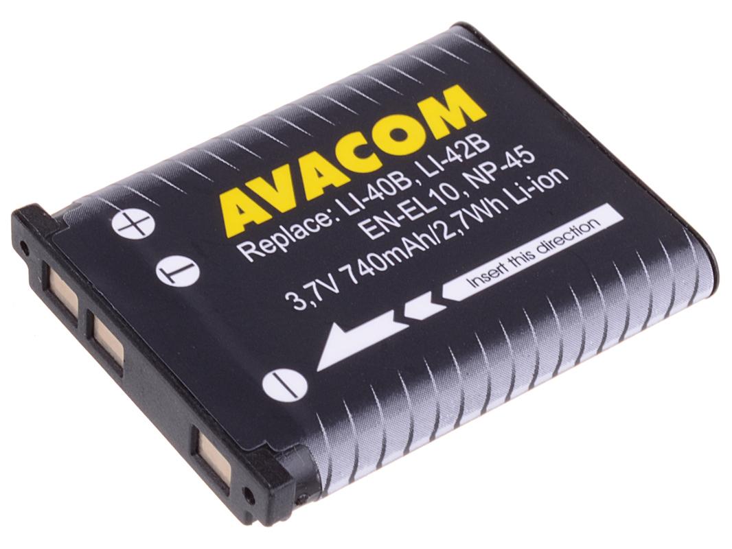 Náhradní baterie AVACOM Olympus Li-40B, Li-42B, Fujifilm NP-45, Nikon EN-EL10 Li-ion 3.7V 740mAh 2.7Wh AVA