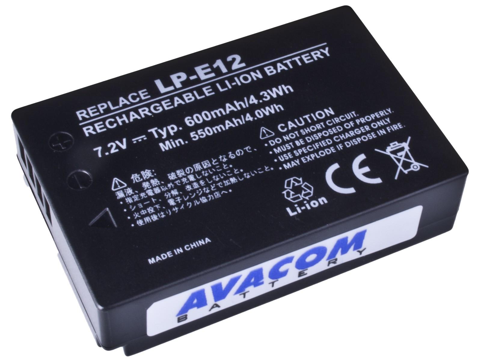 Náhradní baterie AVACOM Canon LP-E12 Li-Ion 7.4V 600mAh 4.3Wh