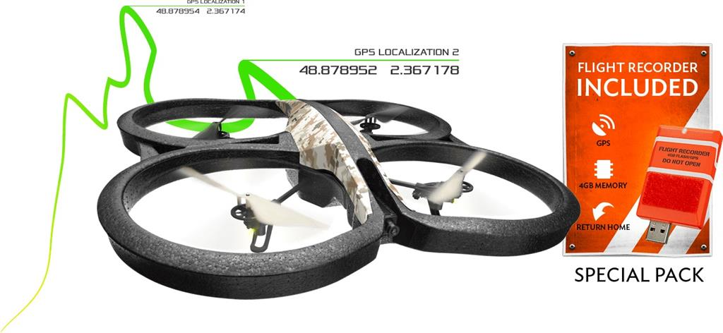 Parrot AR.Drone 2.0 Elite Edition Sand + navigační modul GPS