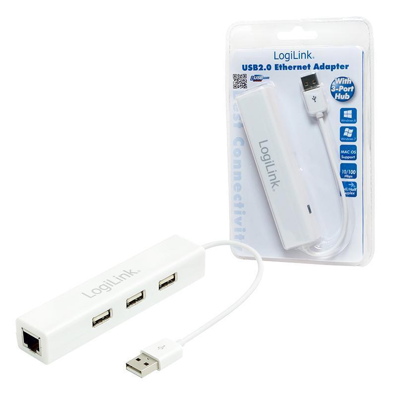 LOGILINK - Adaptér Fast Ethernet USB 2.0 na RJ45 s HUB 3xUSB