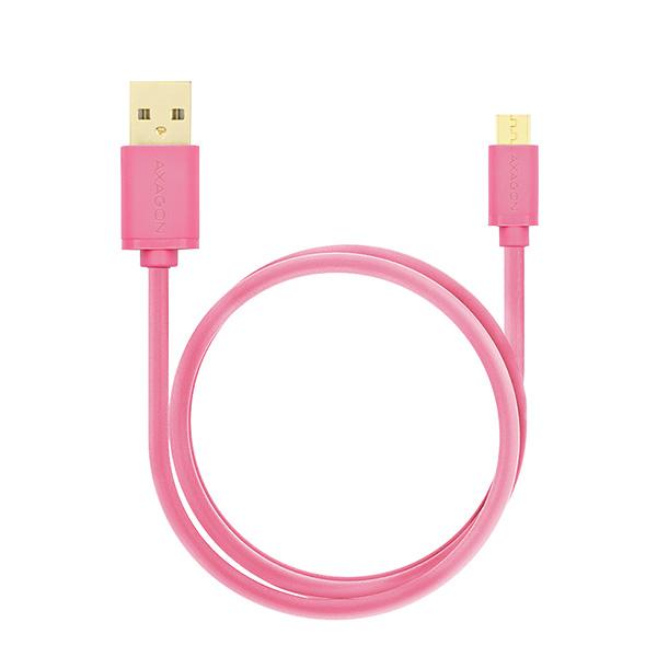 AXAGON - BUMM-AM20QP, HQ Kabel Micro USB <-> USB A, datový a nabíjecí 2A, růžový, 2 m