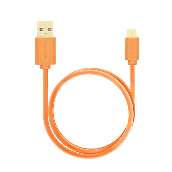 AXAGON - BUMM-AM20QO, HQ Kabel Micro USB <-> USB A, datový a nabíjecí 2A, oranžový, 2 m