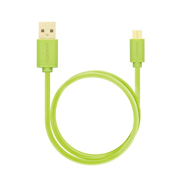 AXAGON HQ Kabel Micro USB, 2A, zelený, 0.5 m