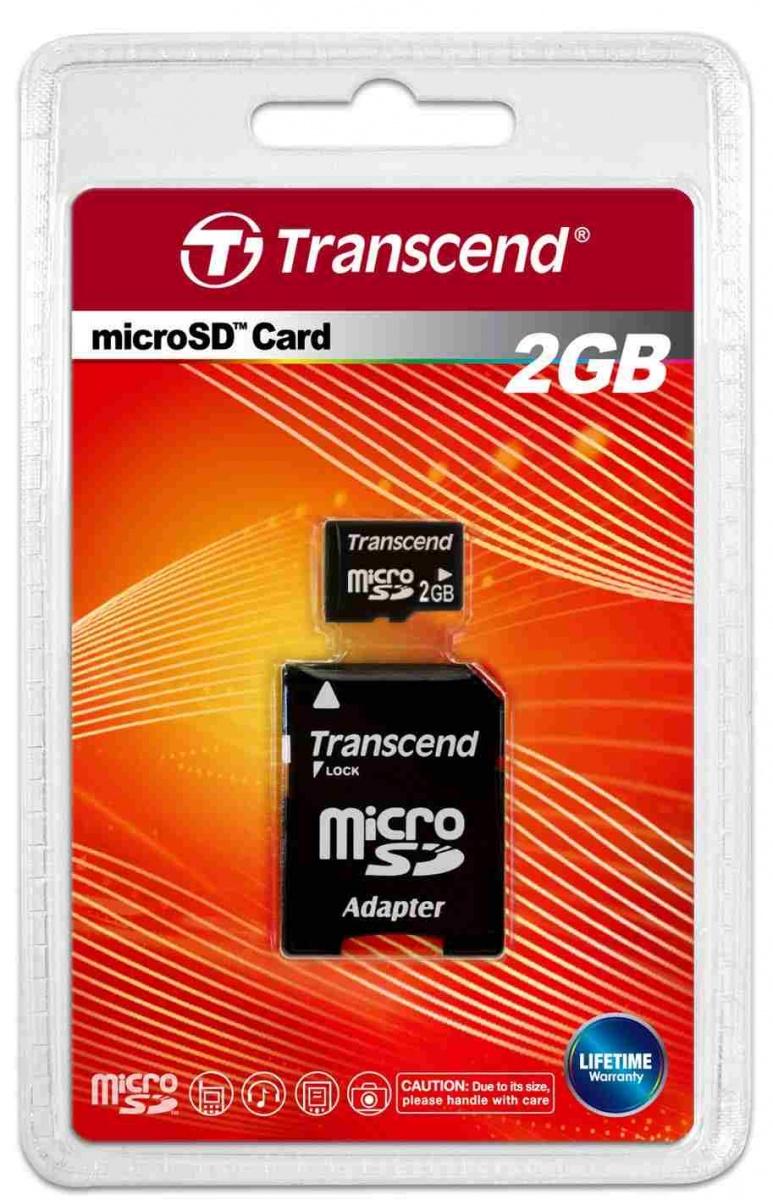 Paměťová karta Transcend microSD 2GB + adaptér
