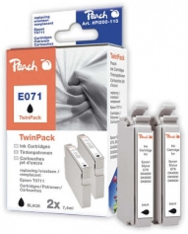 PEACH kompatibilní cartridge Epson T0891 TwinPack, Black, 2x 8,1 ml