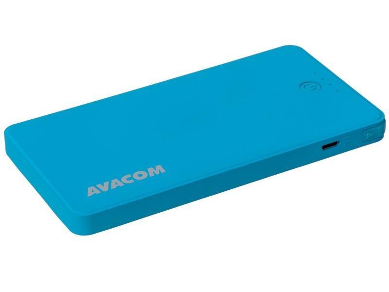 Power Bank AVACOM PWRB-4000B s Li-pol články, kapacita 4000mAh, výstup 5V/2.1A+1A, světle modrá