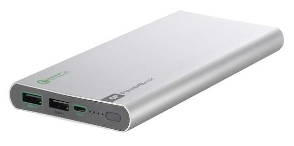 GP PowerBank FP10MB, záložní zdroj 10000 mAh, USB 1.8A/9V + USB 1A/5V, QuickCharge 2.0, stříbrná
