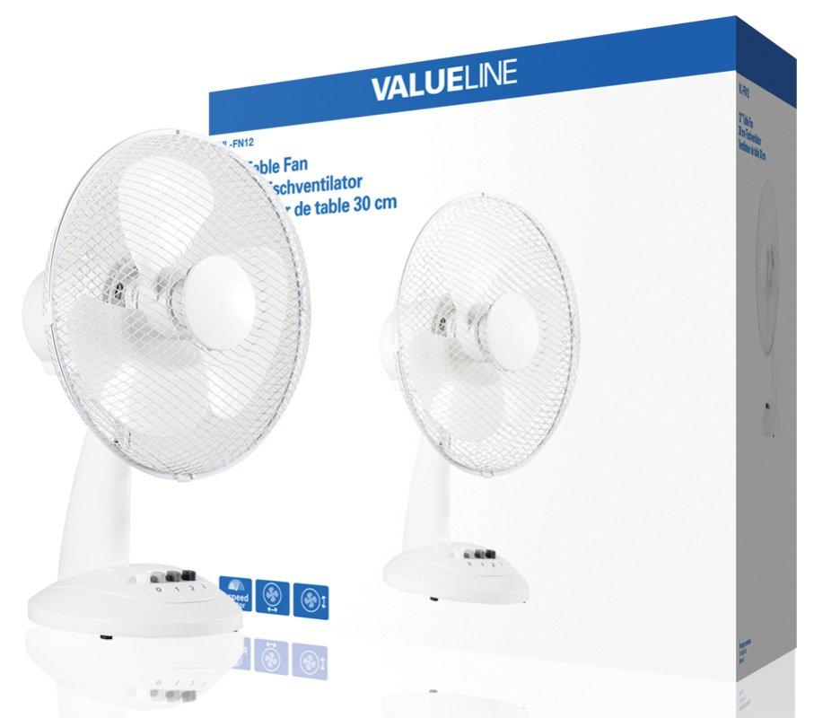 Valueline VL-FN12 - stolní ventilátor 30 cm, 3-rychlosti, funkce oscilace