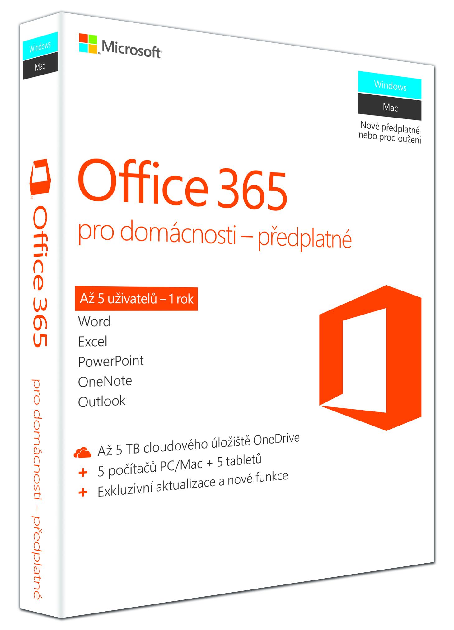 Office 365 pro domácnosti 32-bit/x64 CZ - předplatné na 1 rok