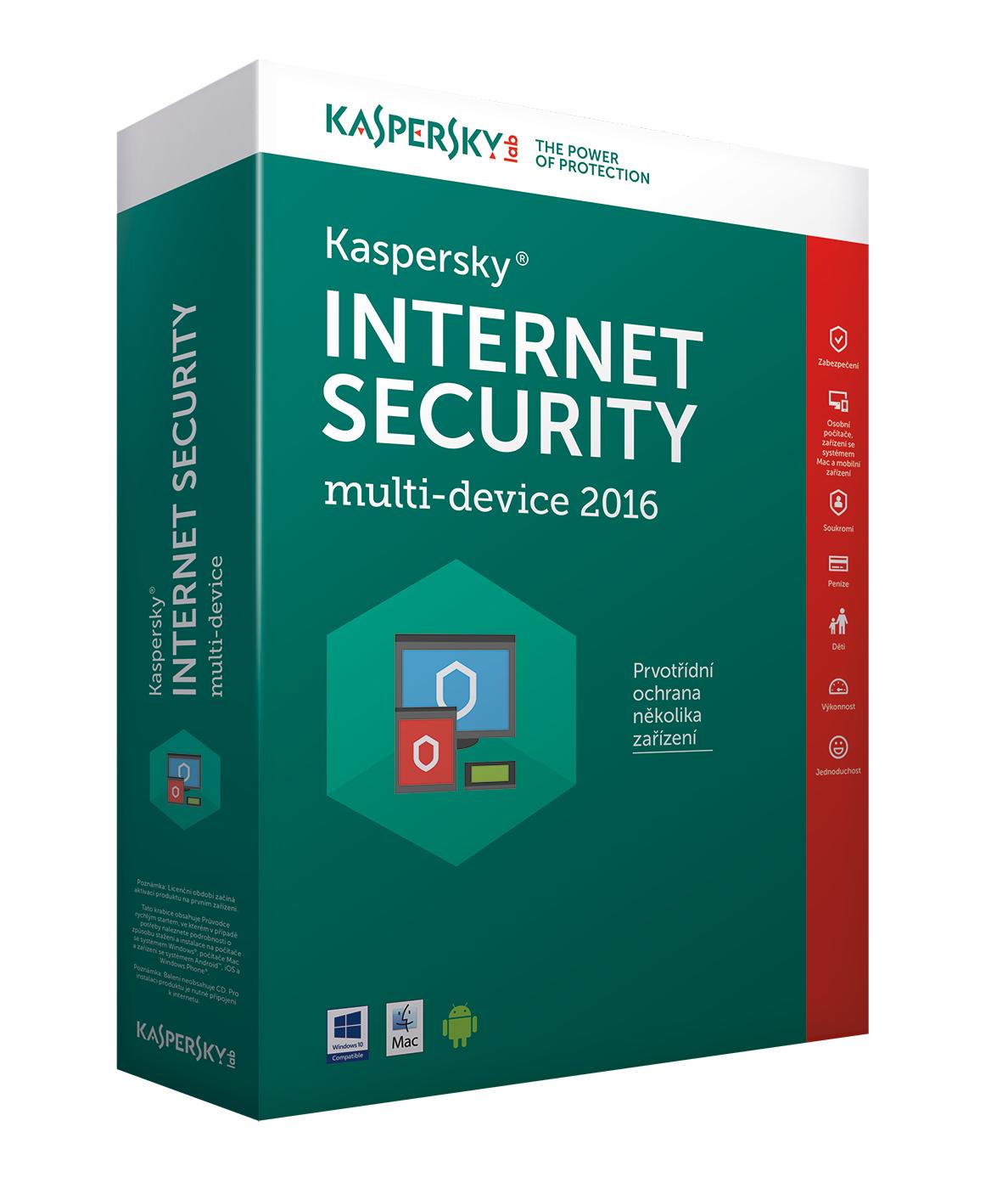 Kaspersky Internet Security multi-device 2017 CZ, 10 zařízení, 24 měsíců - prodloužení (ESD)