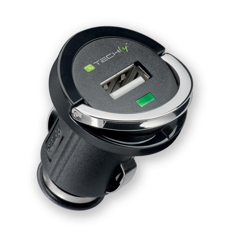 Techly nabíječka do auta USB 5V 1.2A, 12/24V, černá