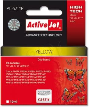 Ink ActiveJet AC-521YR | Yellow | 10 ml | Canon CLI-521Y
