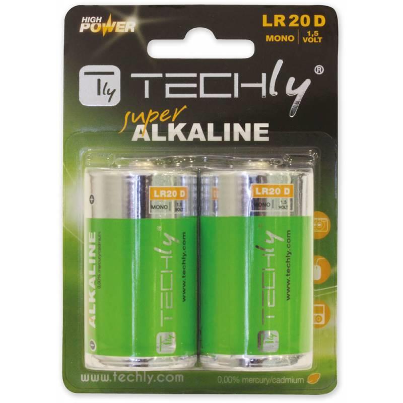 Techly alkalické baterie 1.5V D R20 2 ks