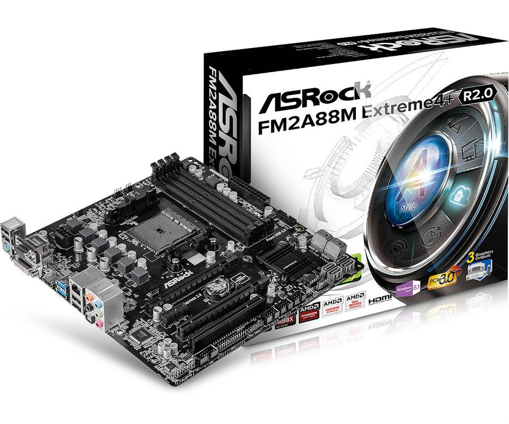 ASRock FM2A88M EXTREME4+ R2.0, FM2+, AMD, 4xDDR3 2400MHz, PCIE, USB3+USB2, DVI+VGA+HDMI, 8xSATA3 Raid, 7.1, GLAN, mATX