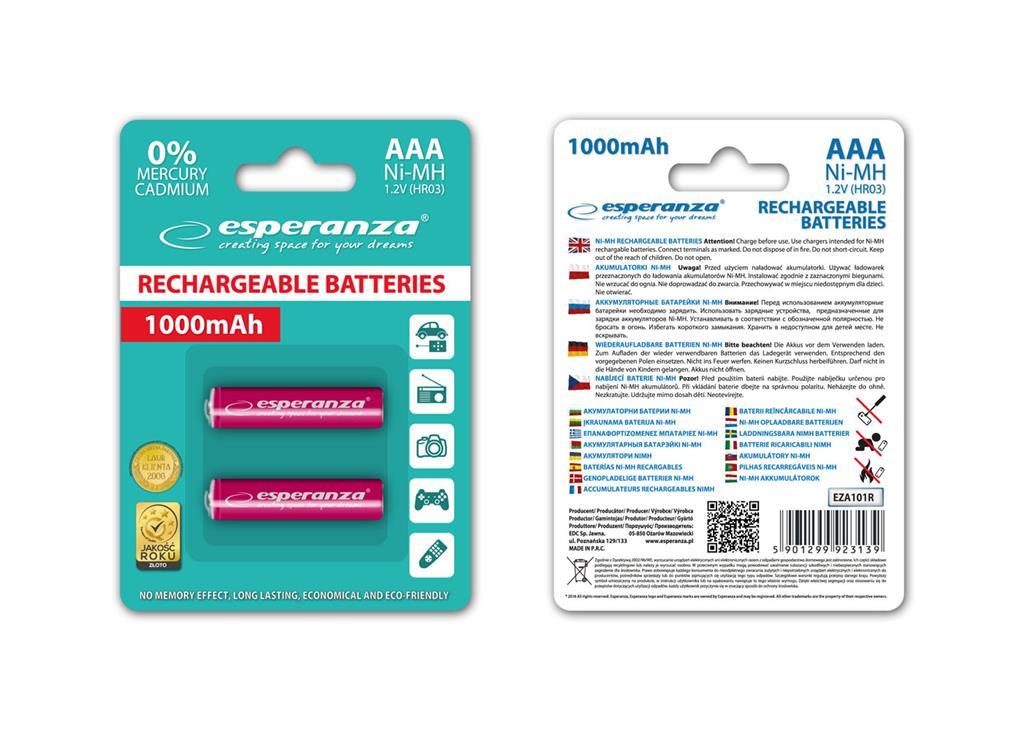 Esperanza EZA101R Nabíjecí baterie Ni-MH R03/AAA 1000mAh, 2 ks, blister