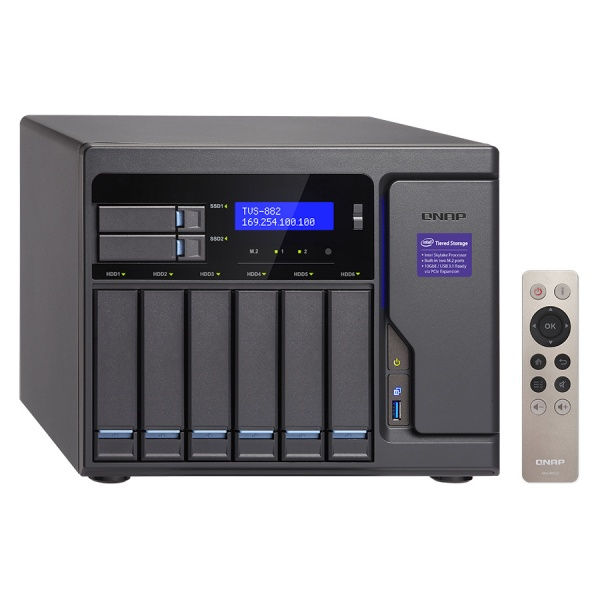 QNAP TVS-882-i3-8G Turbo NAS server, 3,7 GHz DC/8GB/2xSSD+6xHDD/4xGL/3xHDMI/USB 3.0/R0,1,5,6/iSCSI/DO