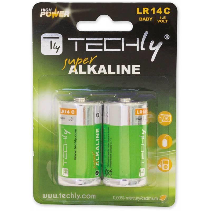 Techly alkalické baterie 1.5V C R14 2 ks