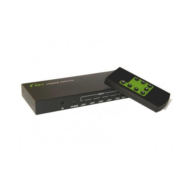 Techly HDMI switch 5/1, 5x vstup, 1x výstup, s dálkovým ovládáním, 4K2K, 3D