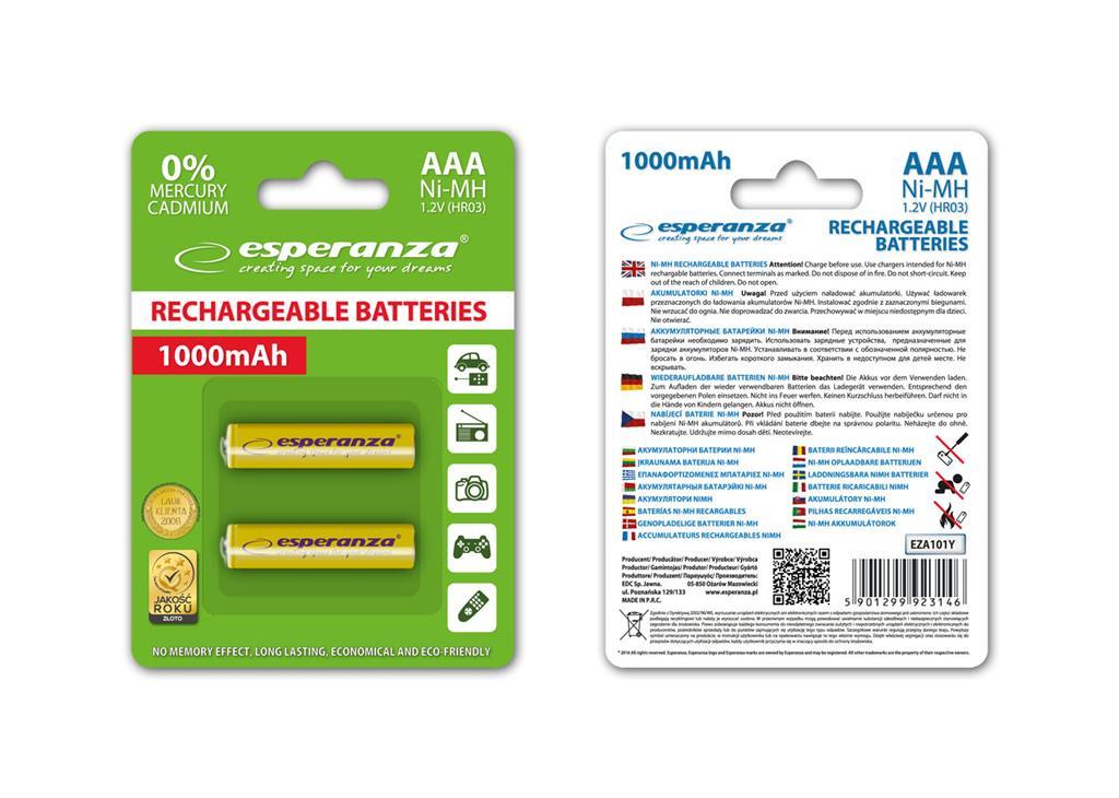 Esperanza EZA101Y Nabíjecí baterie Ni-MH R03/AAA 1000mAh, 2 ks, blister