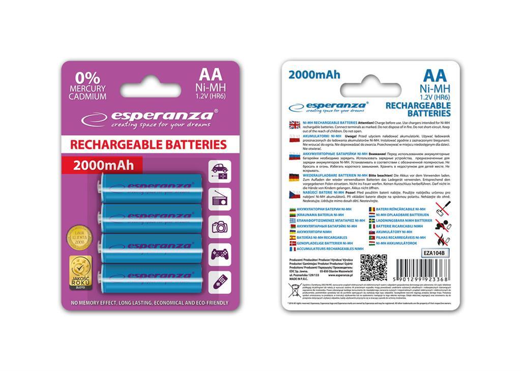 Esperanza EZA104B Nabíjecí baterie Ni-MH R6/AA 2000mAh, 4 ks, blister