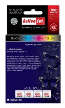 Kazeta ActiveJet AH-M364RX | Černý, Cyan, Magenta, Yellow | 20 ml/ 3x12 ml |HP H