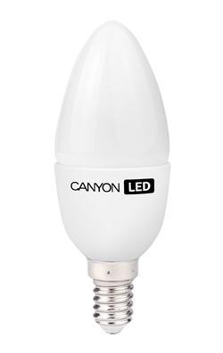 Canyon LED COB žárovka, E14, svíčka, mléčná, 6W, 470 lm, teplá bílá 2700K, 220-240, 150 °, Ra> 80, 50.000 hod