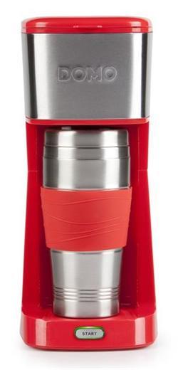 DOMO MyCoffee osobný kávovar s termohrnčekom 400 ml, červeno-čierny