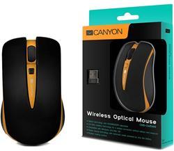 CANYON myš optická bezdrátová CMSW6, nastavitelné rozlišení 800/1600 dpi, 4 tlačítek, USB nano reciever, oranžová