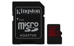 Kingston paměťová karta 32GB micro SDHC UHS-I U3 (čtení/zápis: 90/80MB/s) + SD adaptér
