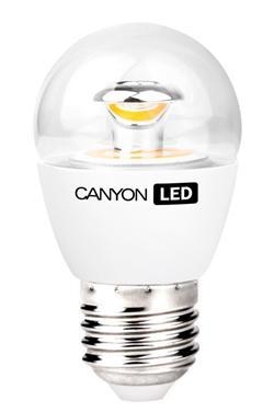 Canyon LED COB žárovka, E27, kompakt kulatá průhledná, 3.3W, 250 lm, teplá bílá 2700K, 220-240, 150 °, Ra> 80, 50.000 h