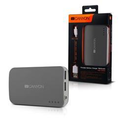CANYON powerbanka 7800 mAh, micro USB input5V/1A a USB output 5V/1A (max.), tmavě šedá