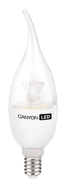 Canyon LED COB žárovka, E14, tvar BXS38, průhledná, 6W, 470 lm, teplá bílá 2700K, 220-240, 150 °, Ra> 80, 50.000 hod