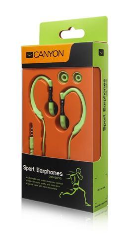 CANYON běžecká sluchátka, uchycení kolem ucha, inline mikrofon, zelená