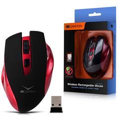 CANYON bezdrátová DOBÍJECÍ myš, 14dní/1nabití, nast. rozliš. 800/1600 dpi, 3 tlačítka, USB nano reciever, černo červená