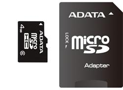 ADATA paměťová karta 32GB micro SDHC CL4 (čtení/zápis: 10/4MB/s)