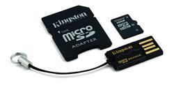 Kingston paměťová karta 16GB micro SDHC CL10 (čtení/zápis: 45/10MB/s) + SD adaptér, micro čtečka